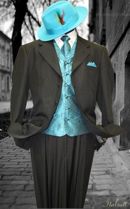 SKU#DW9011 Black-turquoise ~ Light Blue Colored 3pc Fashion Zoot Suit $210