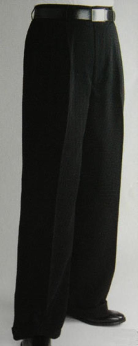 1920s Men's Pants, Trousers, Plus Fours, Knickers Pleated Wide Leg Pants Woolfeel Black Mens TrousersSlacks Cheap $59.00 AT vintagedancer.com
