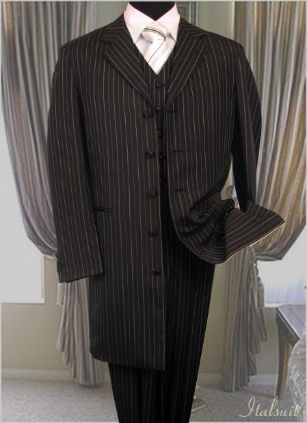 SKU#VP3008 Black With White Stripe 3PC Coordination Fashion Zoot Suit $299