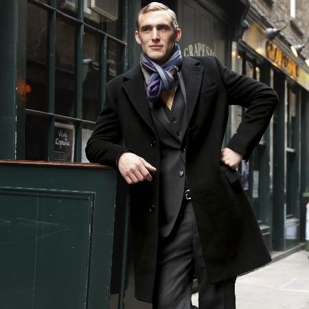 SKU#BA0322 Black Wool Cashmere Overcoat $299