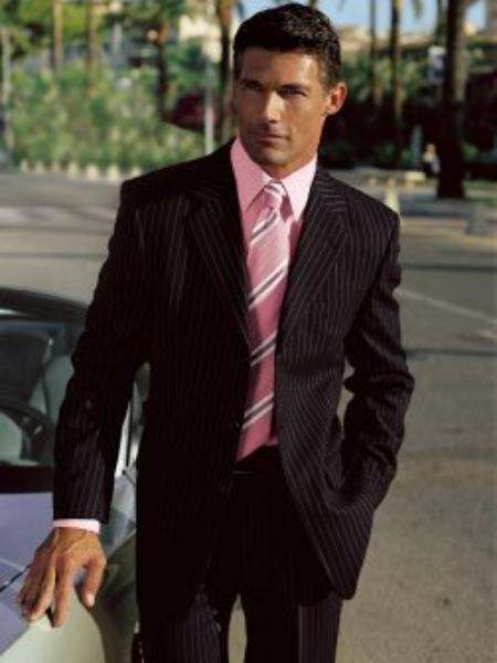 SKU#MU28 Stylish black striped suit is a mens business apparel essential in 2 or 3 Buttons $139