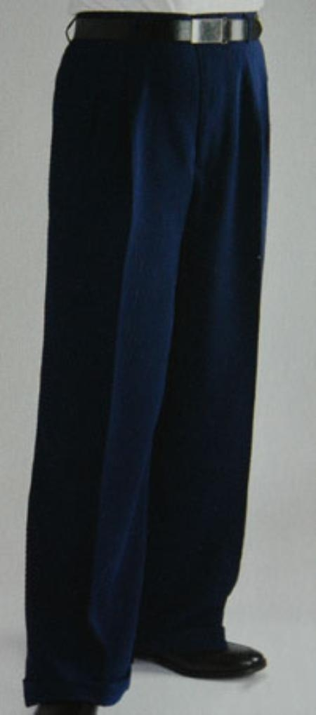 Pleated Wide Leg Pants Wool-feel Blue Mens TrousersSlacks Cheap $59.00 AT vintagedancer.com