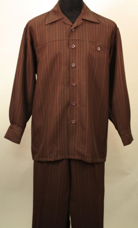 SKU#TJ1943 Brown 2 Pc Long Sleeve Shirt and Pants Set $115