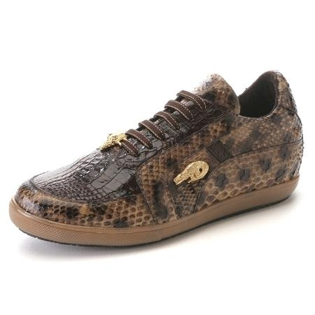 SKU#JU6578 Brown Genuine Croc & Python Sneakers $275