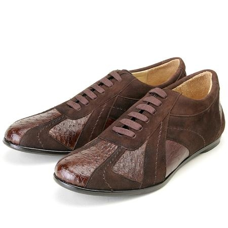 SKU#GH001 Brown, Genuine Ostrich/Suede by Belvedere