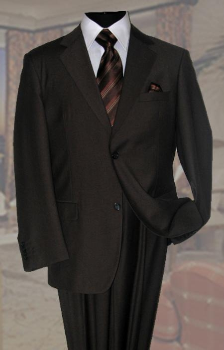SKU#QC8892 Brown Mens Wool Suit 2 Button 2pc Super 150s With Hand Pick Stitching on Lapel