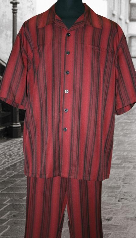 SKU#CN2898 Burgundy 2 Pc Shirt and Pants Set $99