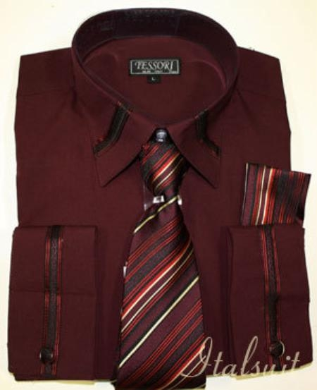 SKU#GV9292 Burgundy ~ Maroon ~ Wine Color Shirt Tie and Hankie Set $65