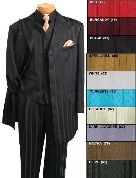 "SKU# HIN36V 5 button 36"" length jacket tone on tone Stripe $139"