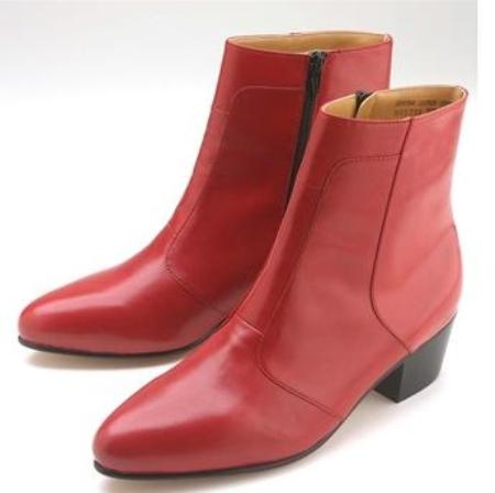 SKU#ASH805750  Red calfskin dress  slanted high heel and side zipper Mens Dress boot $139