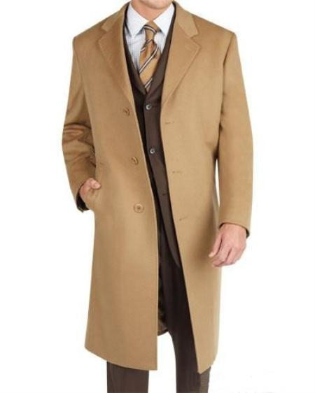 Men's Vintage Style Coats and Jackets 3 Button Camel Wool Blend Topcoat Mens $199.00 AT vintagedancer.com