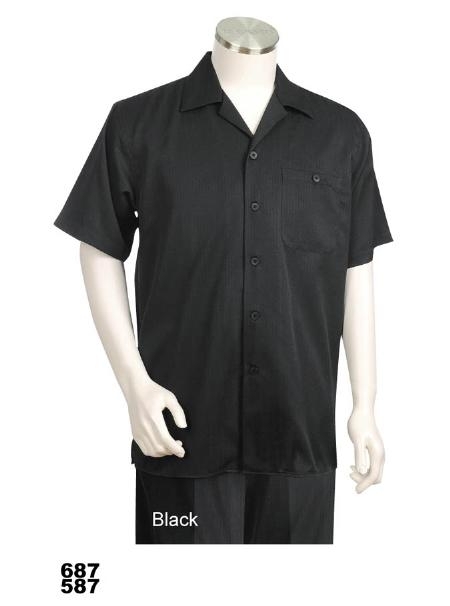 SKU#JPZ2221 Casual Walking Suit Set (Shirt & Pants Included) Black $89