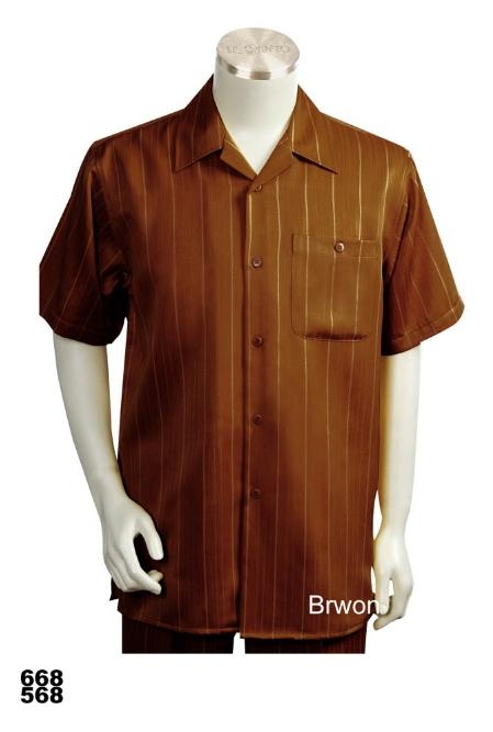SKU#BW9020 Casual Walking Suit Set (Shirt & Pants Included ) Brown $89