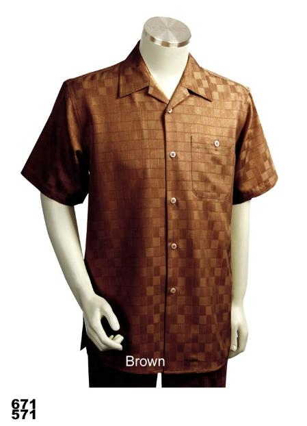 SKU#RM0011 Casual Walking Suit Set (Shirt & Pants Included) Brown $89