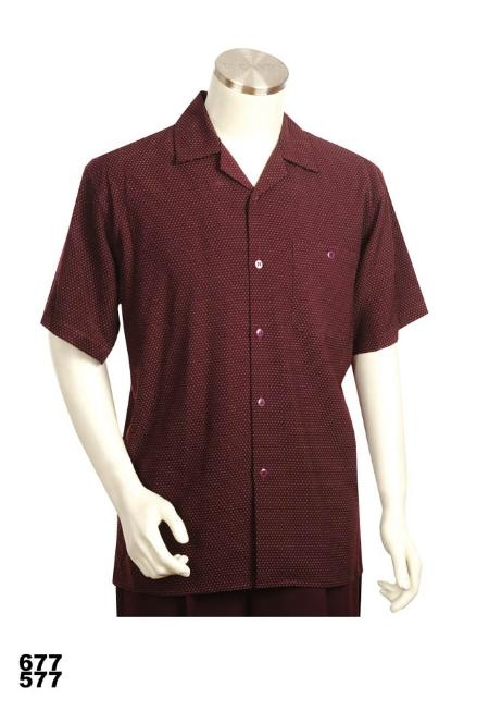 SKU#XS1923 Casual Walking Suit Set (Shirt & Pants Included) Burgundy ~ Maroon ~ Wine Color