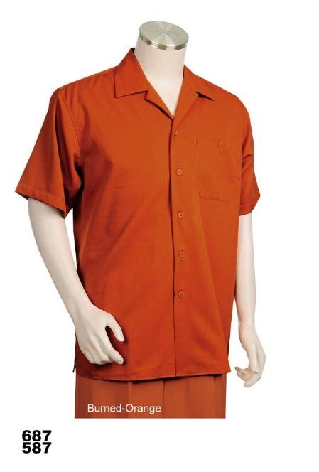 SKU#OB5551 Casual Walking Suit Set (Shirt & Pants Included) Burned Orange
