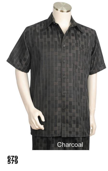SKU#NK8954 Casual Walking Suit Set (Shirt & Pants Included) Charcoal