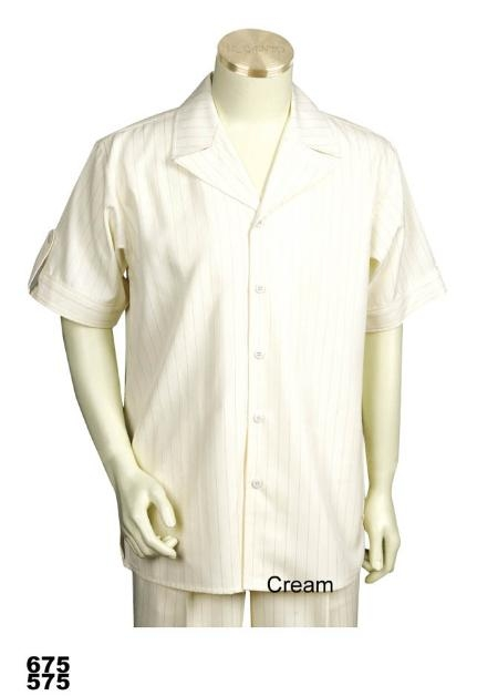SKU#CR9912 Casual Walking Suit Set (Shirt & Pants Included) Cream Ivory $89