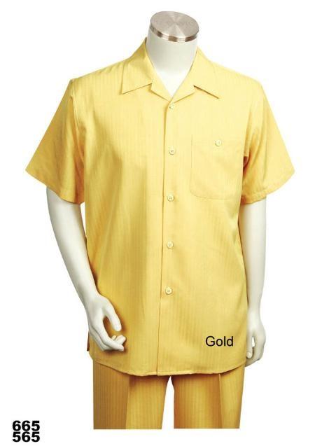 SKU#GD6892 Casual Walking Suit Set (Shirt & Pants Included ) Gold $89