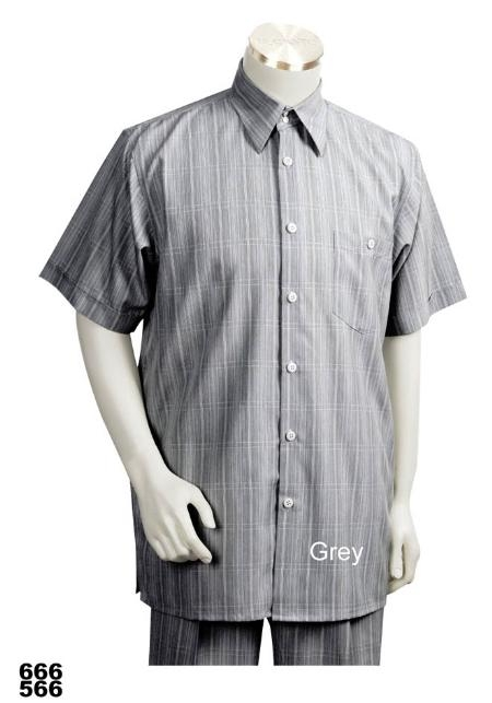 SKU#GE4343 Casual Walking Suit Set (Shirt & Pants Included ) Grey $89