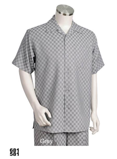 SKU#MZ9992 Casual Walking Suit Set (Shirt & Pants Included) Grey