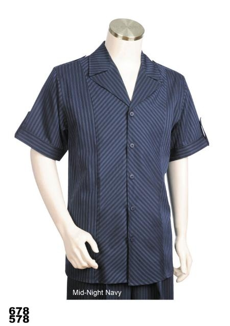SKU#MG7865 Casual Walking Suit Set (Shirt & Pants Included) Midnight Navy
