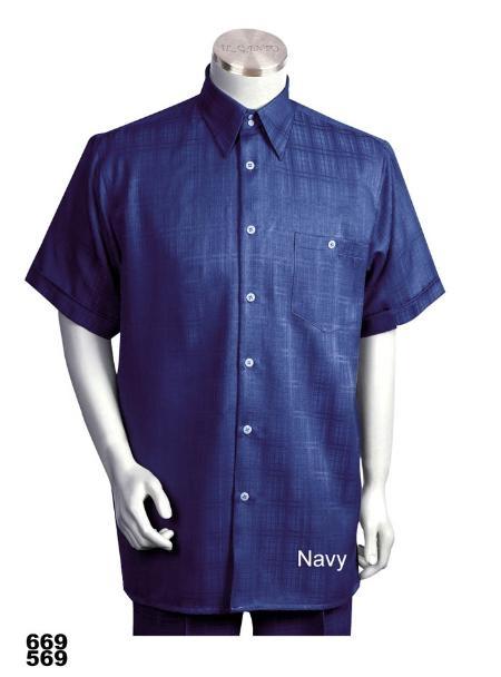 SKU#NN0923 Casual Walking Suit Set (Shirt & Pants Included) Navy
