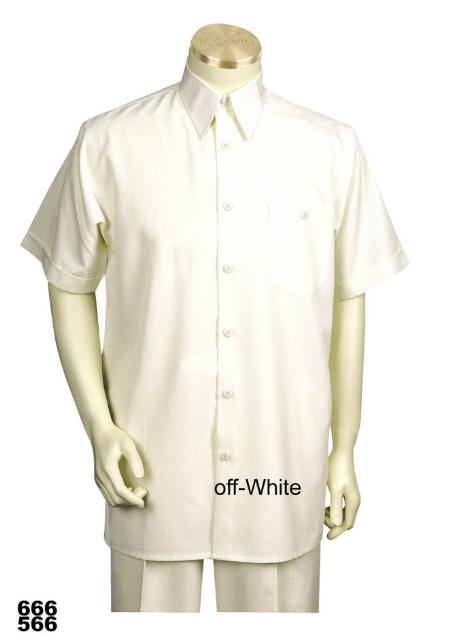 SKU#OH9921 Casual Walking Suit Set (Shirt & Pants Included ) Off-White $89