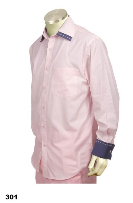 SKU#PG6782 Casual Walking Suit Set (Shirt & Pants Included ) Pink-Grey $125