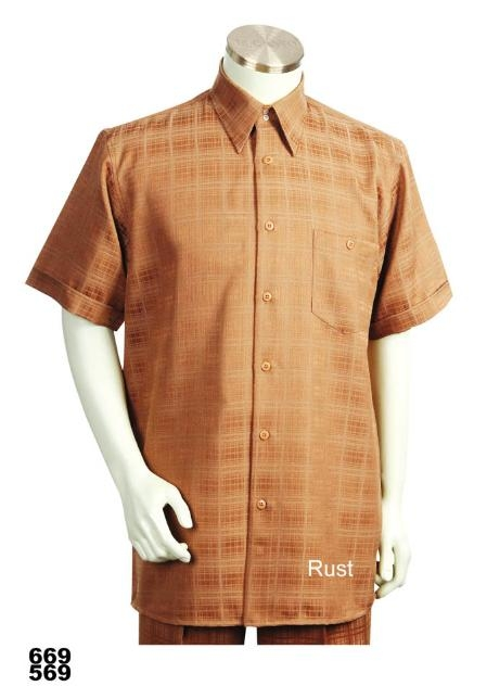 SKU#RU0282 Casual Walking Suit Set (Shirt & Pants Included) Rust
