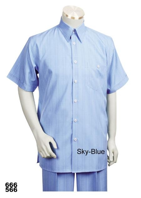 SKU#SB7890 Casual Walking Suit Set (Shirt & Pants Included ) Light Blue ~ Sky Blue