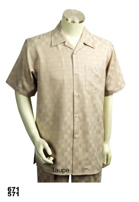 SKU#TA9111 Casual Walking Suit Set (Shirt & Pants Included) Taupe $89