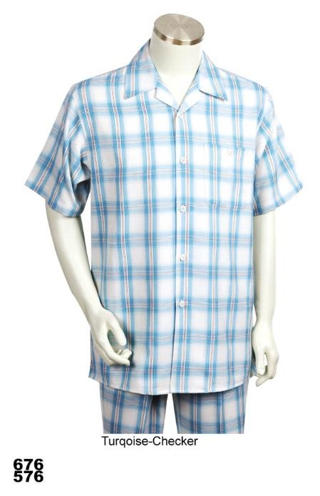 SKU#NM8444 Casual Walking Suit Set (Shirt & Pants Included) turquoise ~ Light Blue Colored Checker $89