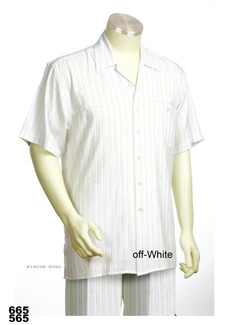 SKU#OW2211 Casual Walking Suit Set (Shirt & Pants Included ) White $89