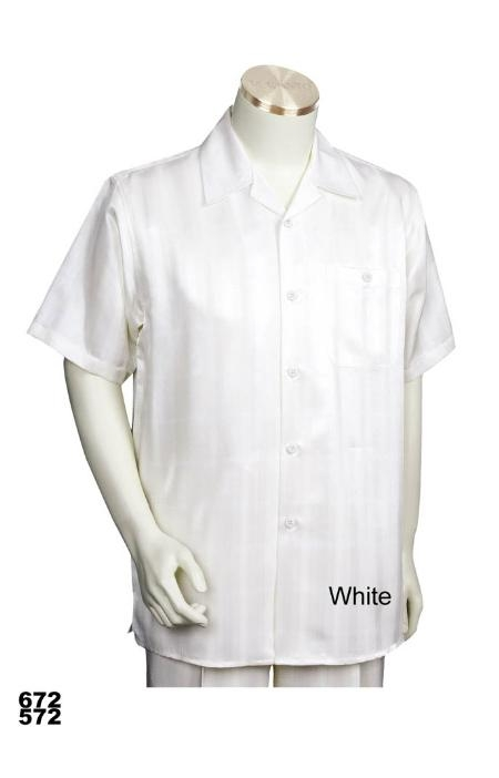 SKU#ZW1212 Casual Walking Suit Set (Shirt & Pants Included) White $89