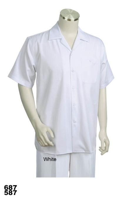 SKU#QL7776 Casual Walking Suit Set (Shirt & Pants Included) White $89