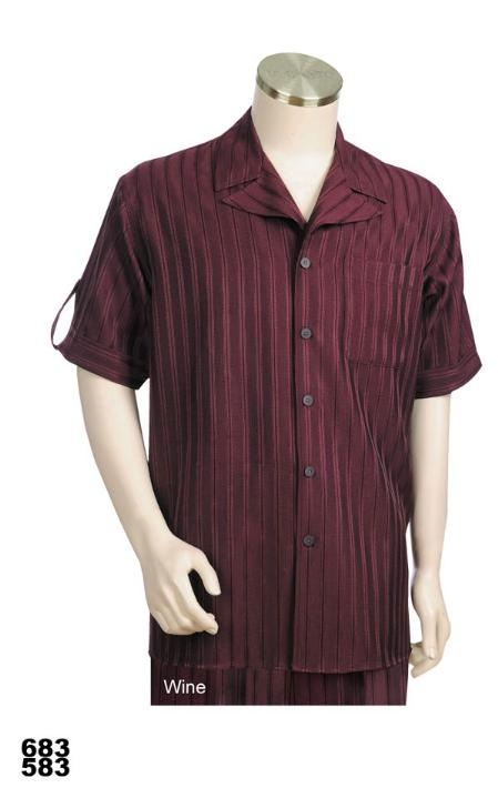 SKU#LM1098 Casual Walking Suit Set (Shirt & Pants Included) Wine/Burgundy $89