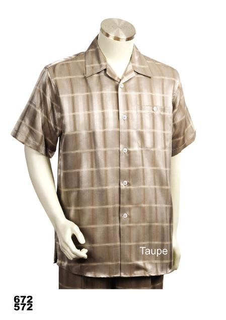 SKU#TA9111 Casual Walking Suit Set Taupe (Shirt & Pants Included)