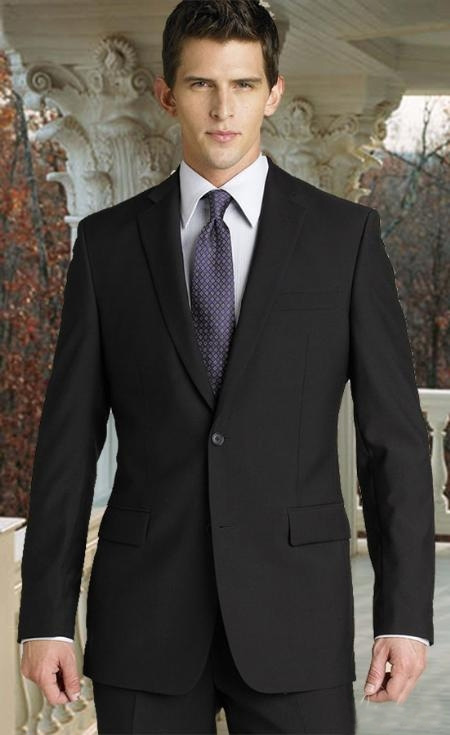 SKU#MQ0011 Charcoal 2 Button Super 150s 2pc Wool Suit with Hand Pick Stitching on Lapel