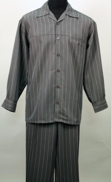 SKU#DX6862 Charcoal 2 Pc Long Sleeve Shirt and Pants Set $115