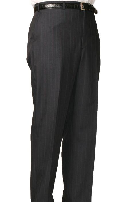 SKU#MZ9500 Charcoal Bond Flat Front Trouser