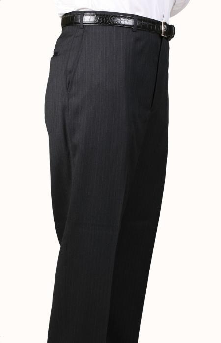 SKU#OY8934 Charcoal Bond Flat Front Trouser