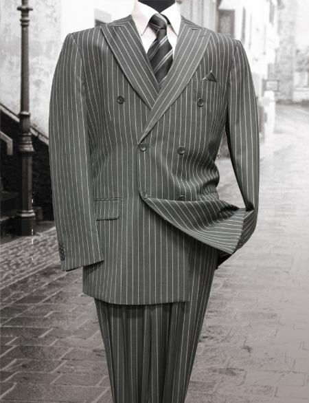 New 1940's Style Zoot Suits for Sale Charcoal Classic Double Breasted Mens Suit with Pinstripe $159.00 AT vintagedancer.com