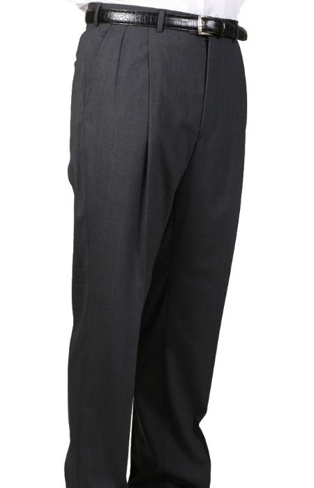 SKU#MM5049 Charcoal, Parker, Pleated Pants Lined Trousers $99