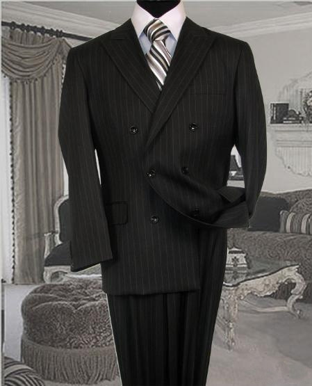 1940s Mens Suits | Gangster, Mobster, Zoot Suits Charcoal Suit With Pinstripe Full Canvanced PolyRayon Wool Feel Pleated Pants $195.00 AT vintagedancer.com