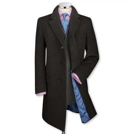 SKU#CH6903 Charcoal Wool Cashmere Over Coat $299