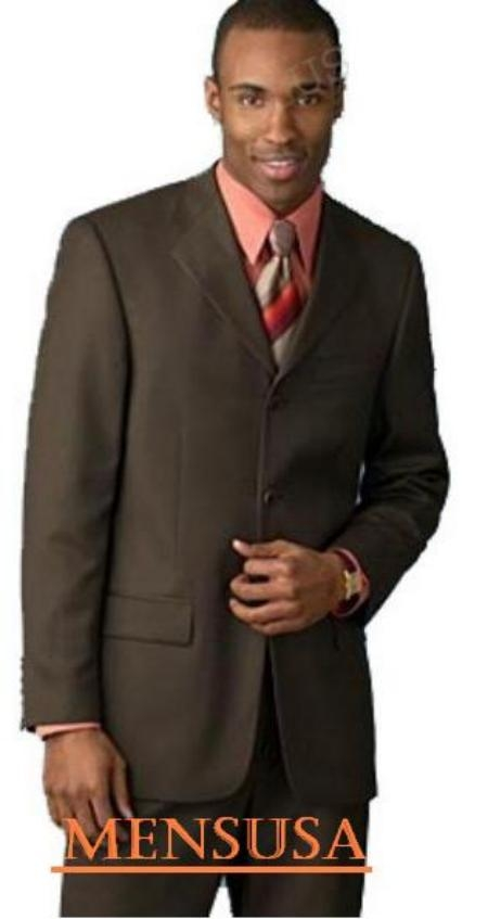 SKU# SAH288 chocolate brown 3 Buttons Mens premier quality italian fabric Suits 100% Wool $149