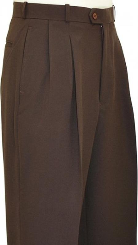Retro Clothing for Men | Vintage Men's Fashion Pleated Wide Leg Pants Woolfeel Chocolate Brown Mens TrousersSlacks $66.00 AT vintagedancer.com