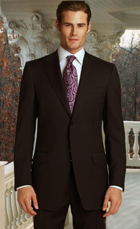 SKU#MK2394 Classic 2pc 2 Button Brown Super 150s Suit With Hand Pick Stitching on Lapel