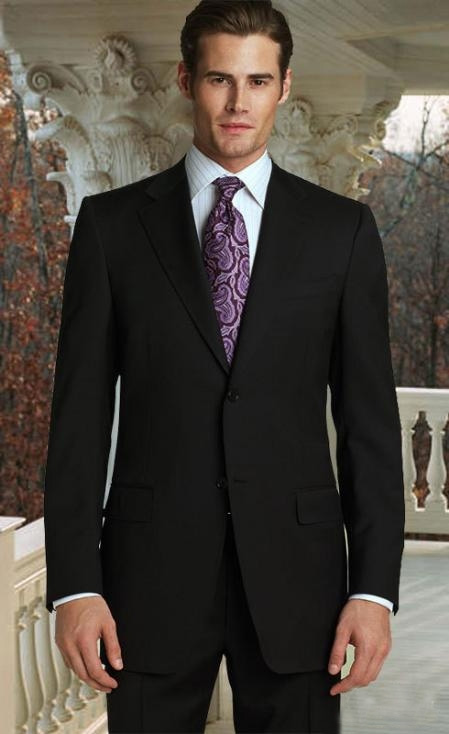 SKU#QF4422 Classic 2pc 2 Button Jet Black Super 150s Suit with Hand Pick Stitching on Lapel
